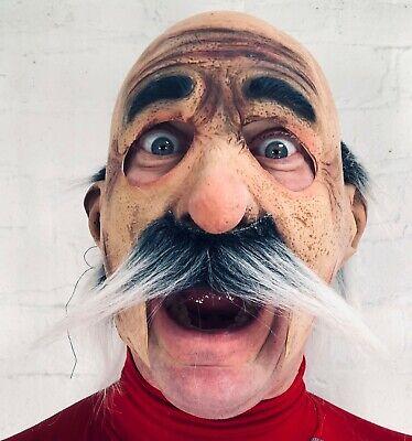 Lustig Alter Mann Grau Schnurrbart Latex Offen Mund Maske Kostüm Bart Zubehör