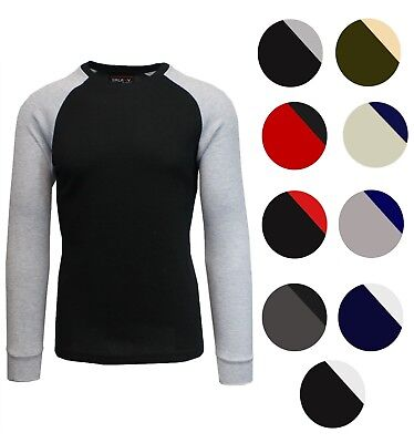 (Men's Long Sleeve Crew Neck Raglan Thermal Tee Shirt w/ Contrast Color Sleeves)