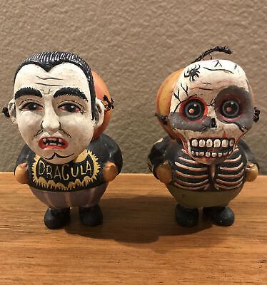 Bethany Lowe Greg Guedel Pumpkin Head Skeleton & Dracula Ornaments—Retired 2015