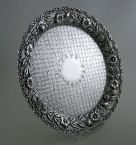 Sterling REPOUSSE salver tray with diapered bottom (20th Century)