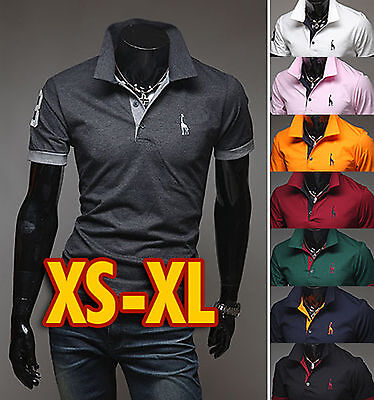Mens Giraffe Slim Fit Pure Cotton Collar Polo T-Shirts Short Sleeve- XS/S/M/L/XL