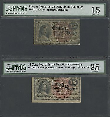 FR1267; FR1271 15¢, 4TH ISSUE FRACTIONAL CURRENCY PMG GRADED BS2804](4th Grade Fractions)