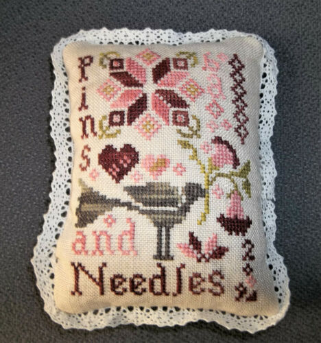 Finished/Completed Cross Stitch Pincushion Handmade - Folk Art Design