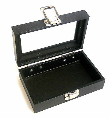 1 Small Black Glass Lid Top Utility Display Storage Sales Box Case