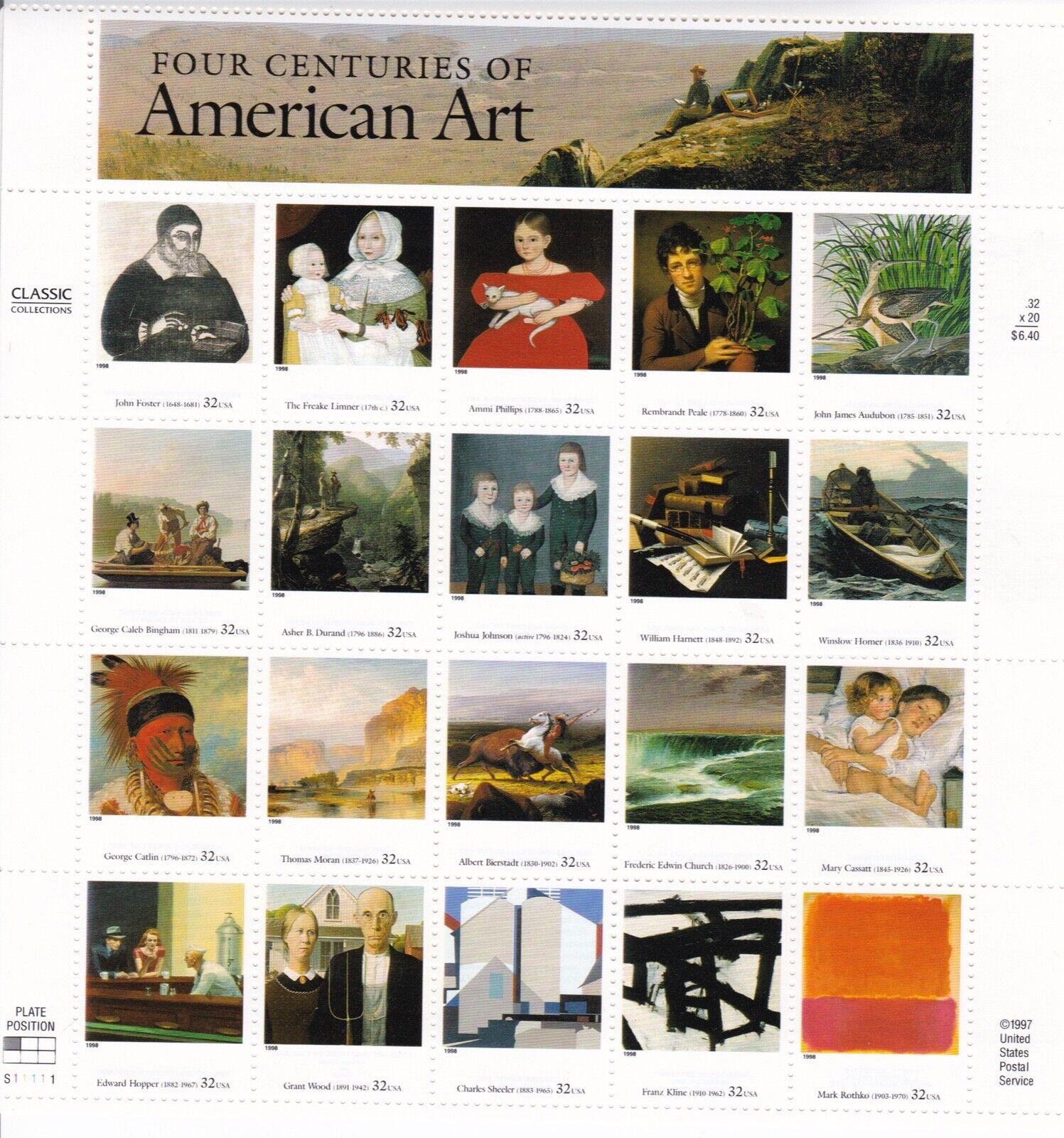 Scott 3236 - US Sheet Of 20 - FOUR CENTURIES OF AMERICAN ART - MNH - 1998 - $8.99