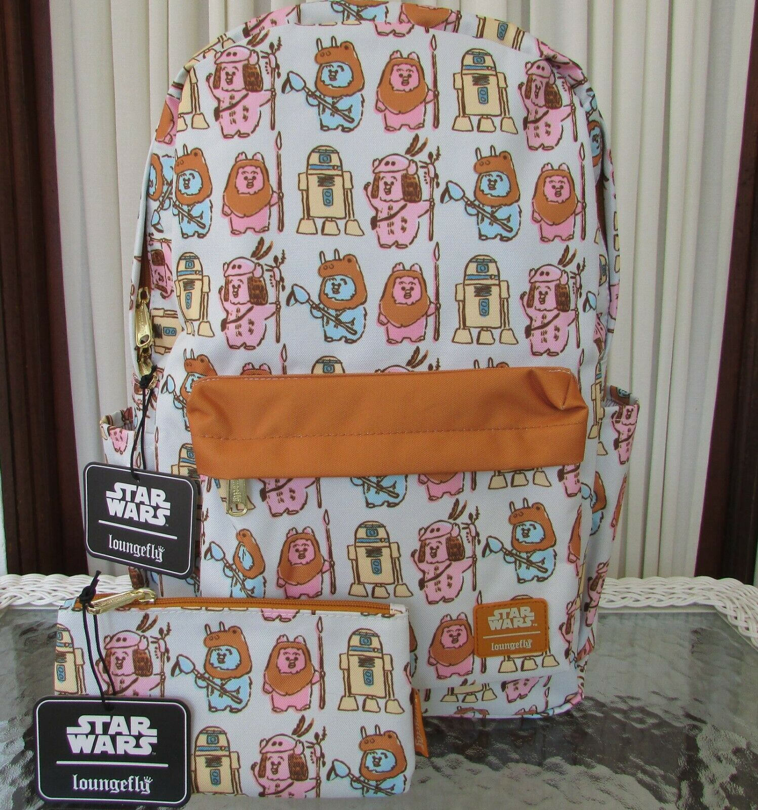 star wars ewok nylon backpack and pouch