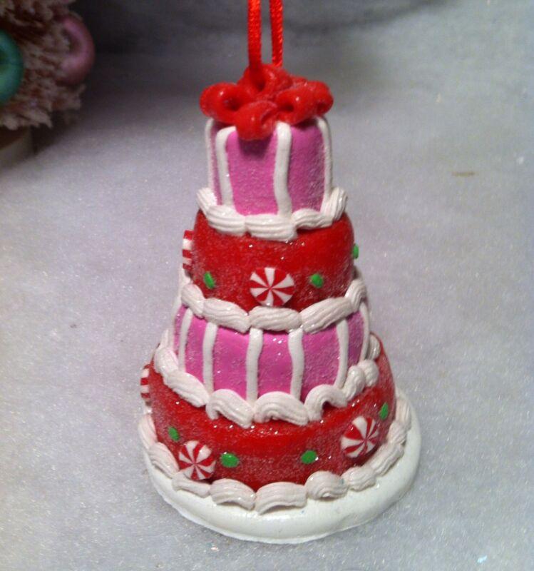 3 tier Red, Pink & White Cake dessert Christmas Tree Ornament