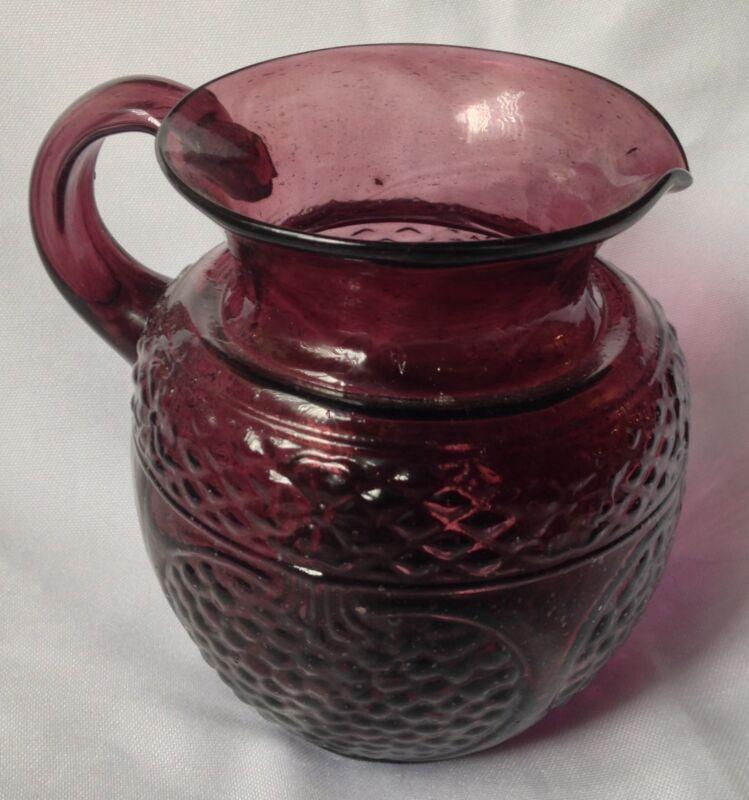 purple blown glass pomegranate jug pitcher 5 inch tall