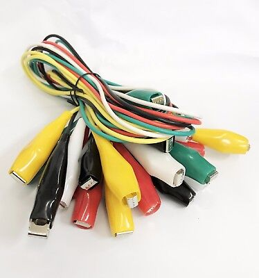 20pc Test Lead Set Alligator Clips Hookup Lead Electrical Clamps 26 Awg Gauge
