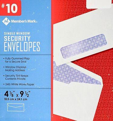 Member Mark #10 Single-Window Security Envelopes 24 LB, -