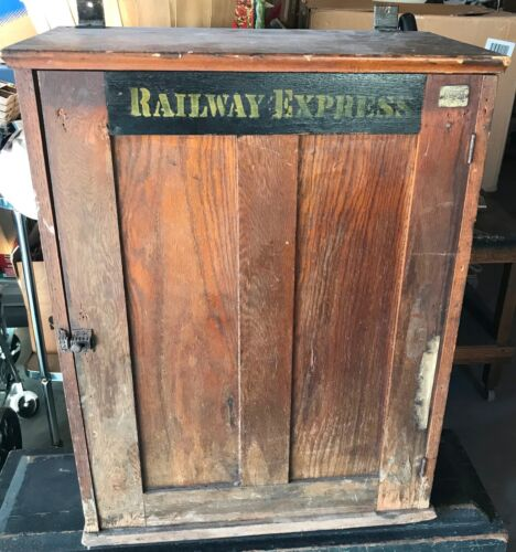 Antique Vintage Railway Express Wood Cabinet Depot Tickets Railroad Cubby 1929