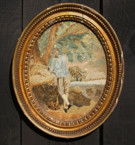 GOOD Late 18th Century GEORGE III SILK NEEDLEWORK , FLUTE PLAYER