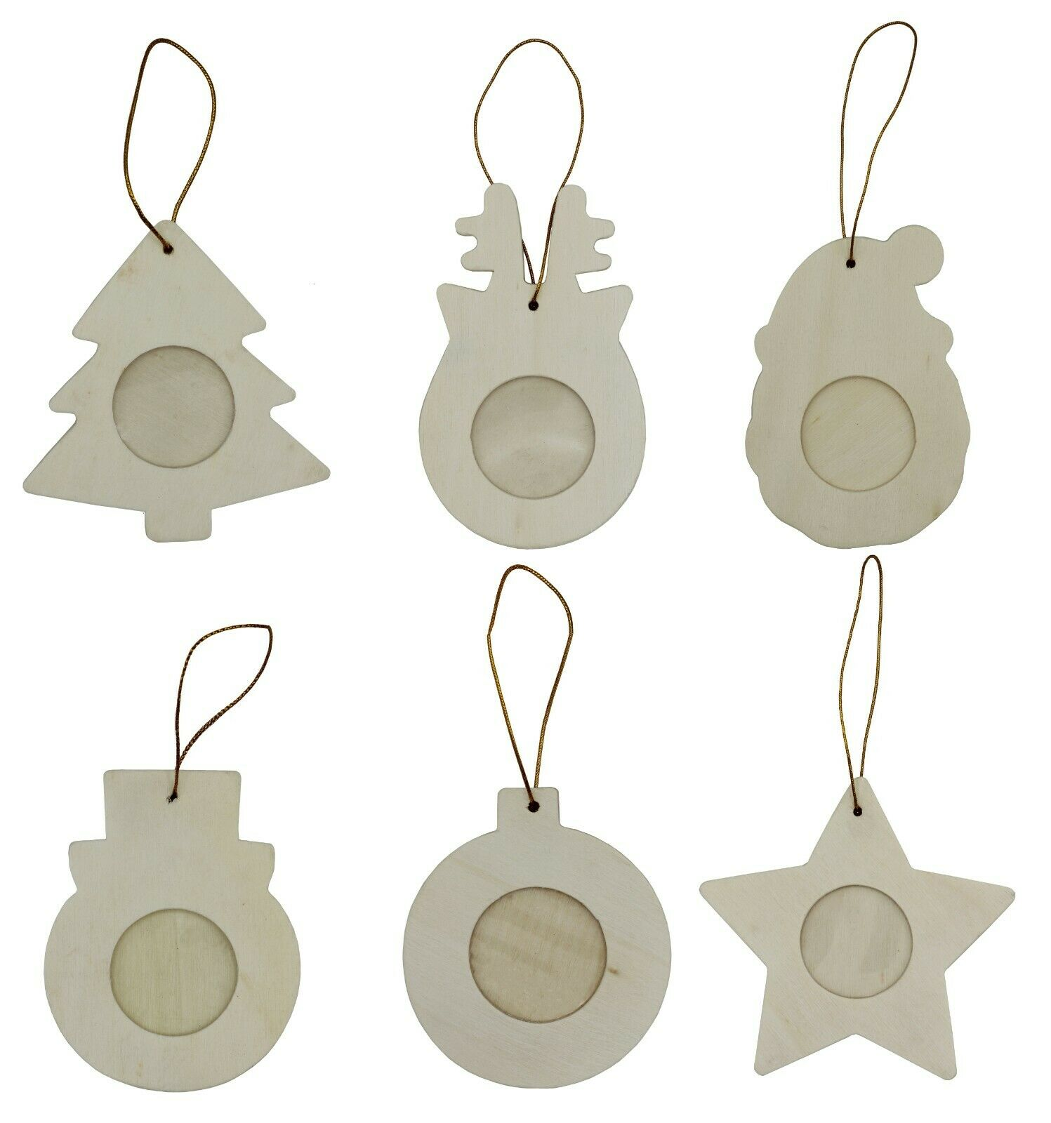 36-Pack Photo Frame Ornaments, DIY Wood Christmas Theme Crafts