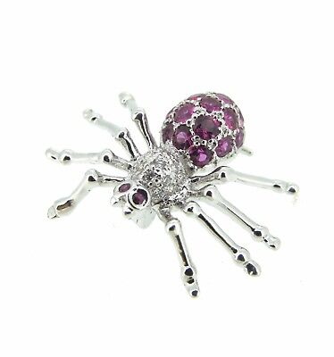 18k White Gold Rubys Diamonds SPIDER Pin Brooch