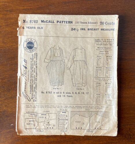 1908 Antique McCall Pattern No. 8762 Girl