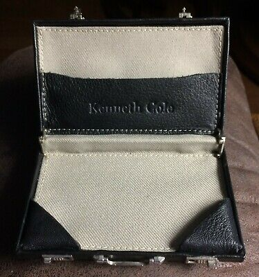 Kenneth Cole Leather Briefcase Business Card Holder Euc