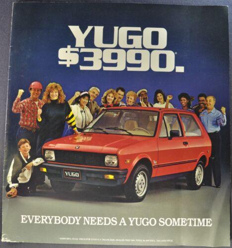 1986 Yugo Hatchback Sedan Large Sales Brochure Folder Original 86