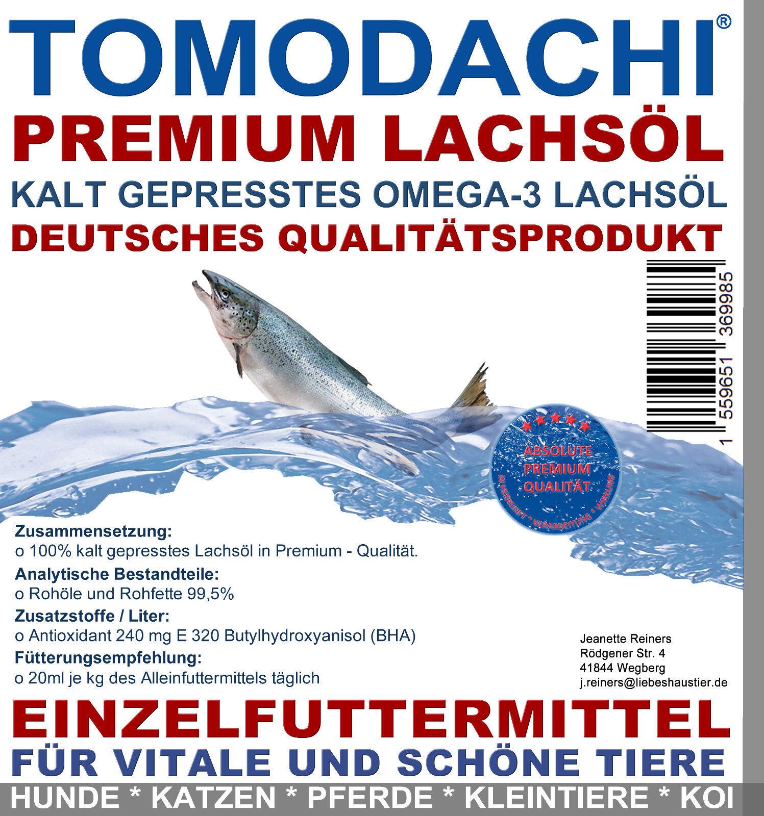 Lachsöl Hund, BARF Zusatz essentielle Fettsäuren, Premium Omega 3 Lachsöl 5L