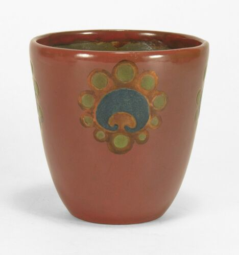 Marblehead Pottery red blue copper lustre decorated coupe vase Arts & Crafts