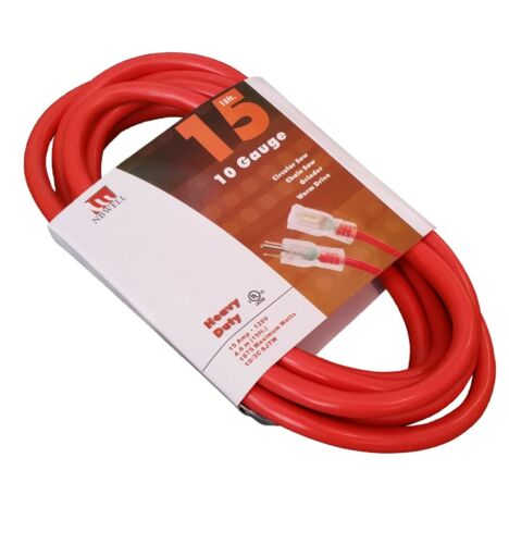 15-Ft Extension Cord 10 Gauge Lit End AWG Heavy Duty UL NEW 10/3