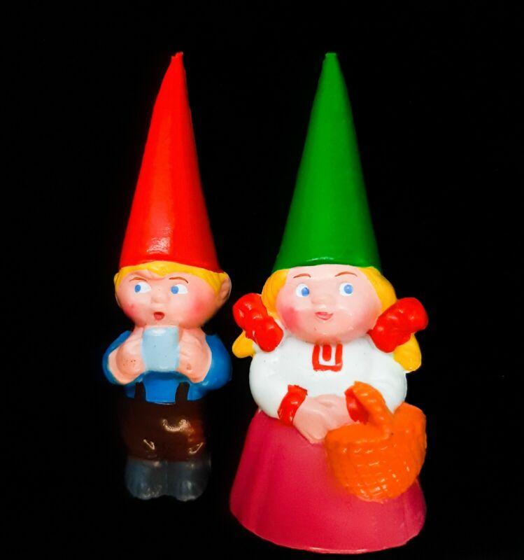 Vintage David the Gnome PVC Figures Boy Girl Unieboek Playspaces 1980 Miniatures
