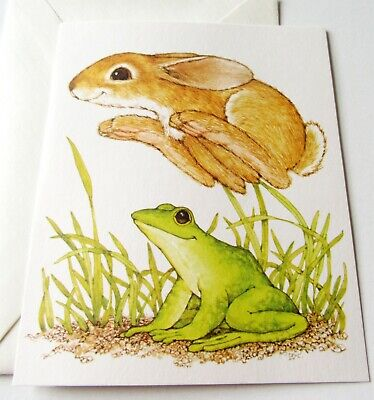 Unused Vtg Greeting Card Blank Current Critters Bunny Jumping over Frog (Bunny Jumping)