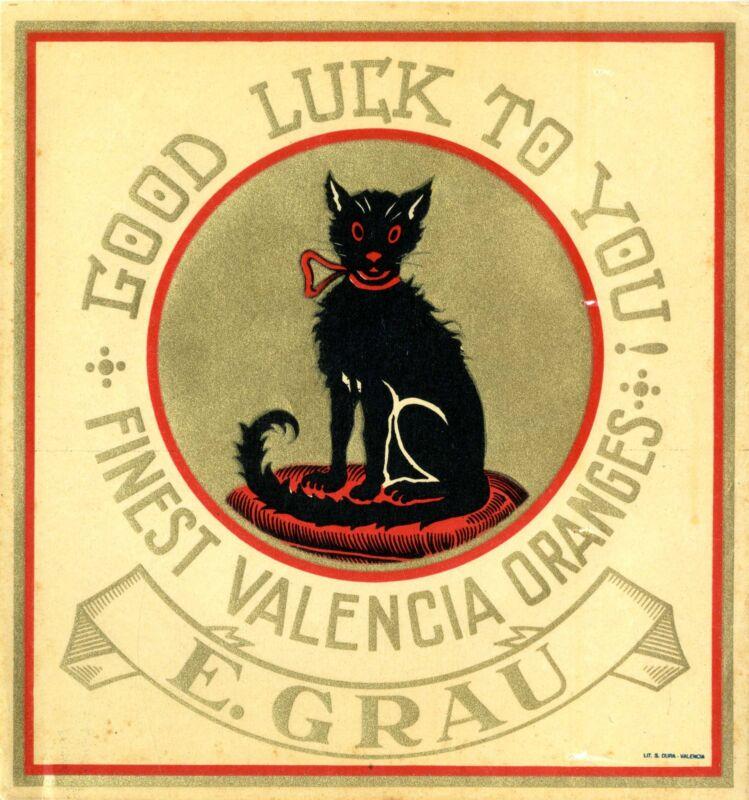 Valencia Spain Black Cat Good Luckto You Orange Citrus Fruit Crate Label Print