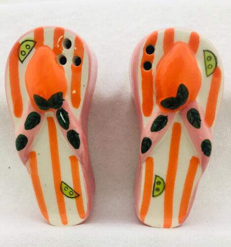 Flip Flop Salt & Pepper Shakers Set collectibles Ceramic Beach Sandal Shakers