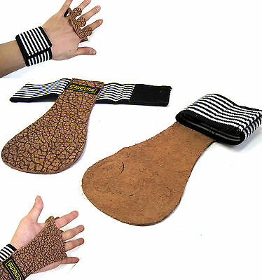 New Leather Heavy Weight Lifting Straps Wristband Gloves Health Fitness Gym