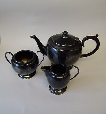Pewter Set Tea Vintage Three Piece English Antique Tea Pot Sugar Basin Cream Jug