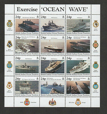 British Indian Ocean Territory #196, mint never hinged. 12 stamps depicting ship