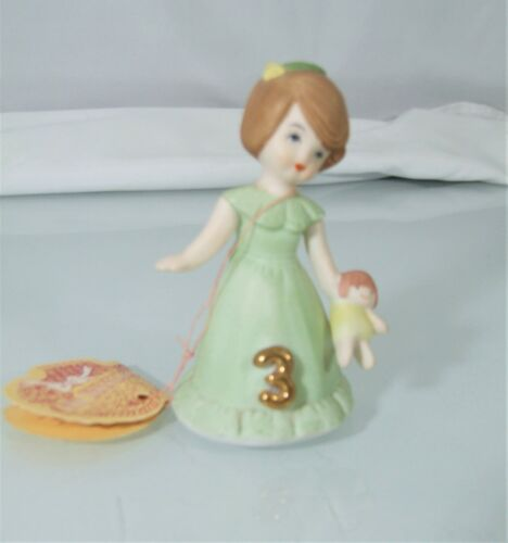 Enesco Growing Up Girls 3 Year Old Birthday Figurine 1982