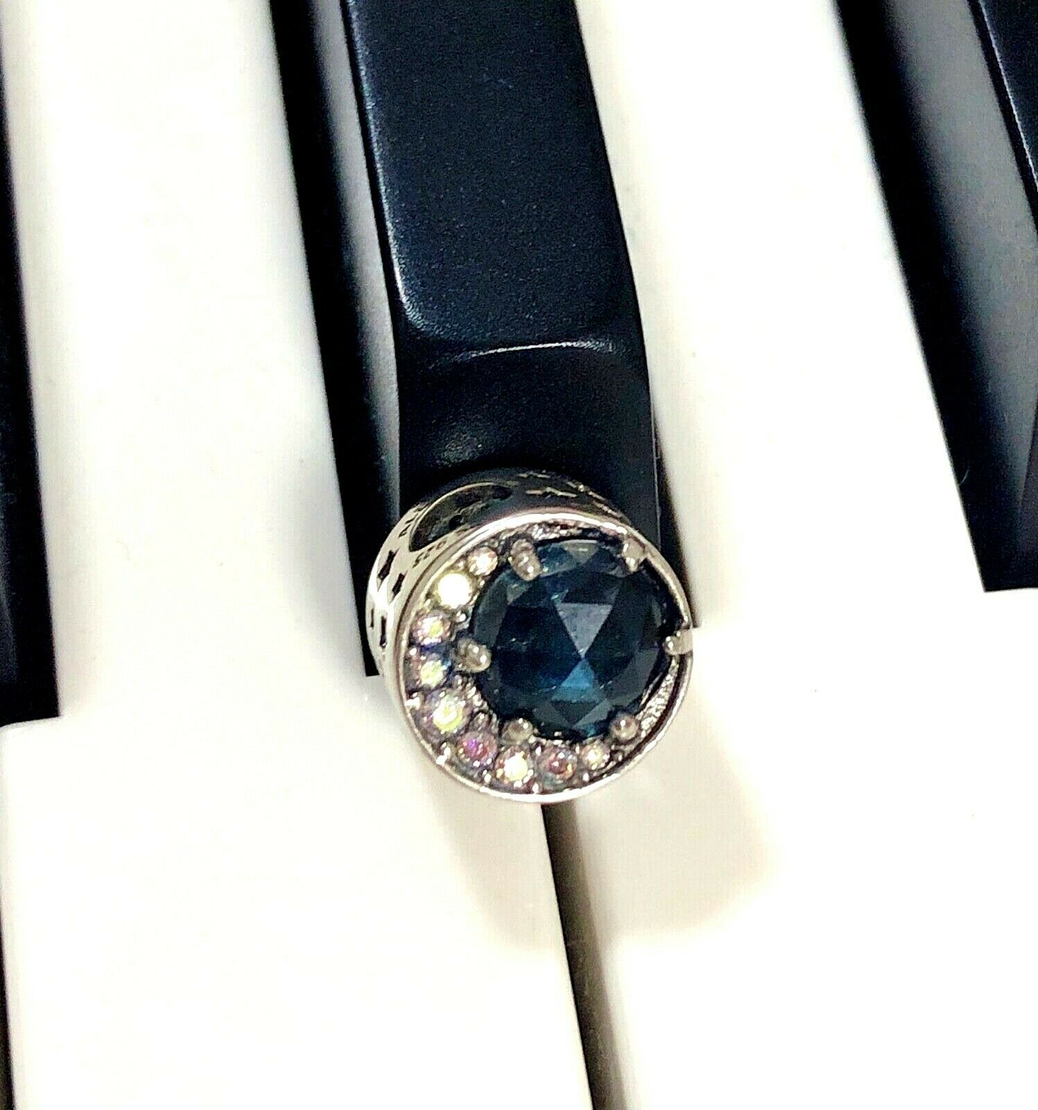 Pre-owned Authentic Pandora Silver CHARM BEAD Moon And Night Sky Blue 798524 - $15.00