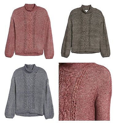 - New Nordstrom Caslon Open Cable Knit Funnel Neck Women's Sweater Size XS, Large
