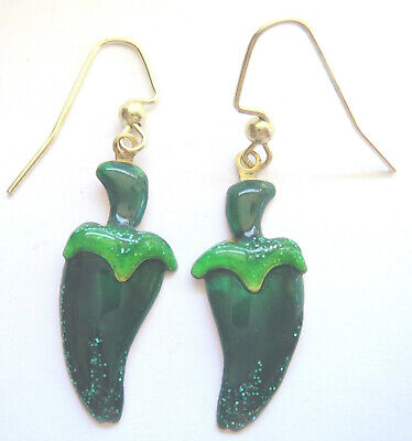 Lunch at the Ritz Green Jalapeno Hot Peppers Charm Pierced Earrings