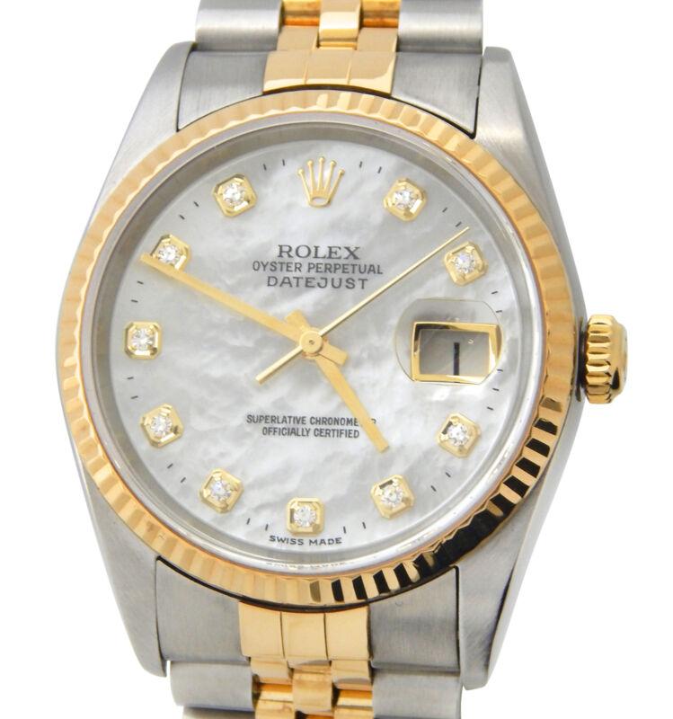 Rolex Datejust 16233 Mens 18k Gold & Steel Watch White Mop Factory Diamond Dial