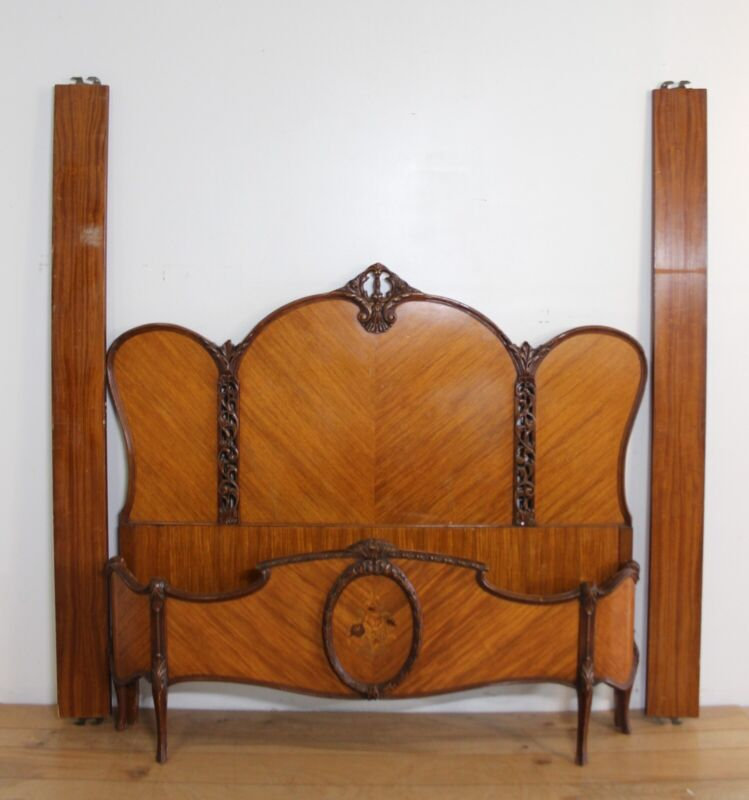 French Antique Carved Satinwood Full Size Bed With Inlay