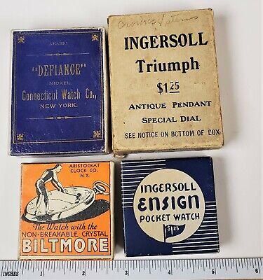 4 Antique Pocket Watch box lot empty Ingersoll Nickel Arabic Defiance Triumph