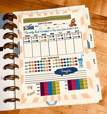 Fitnesssleepwaterfood Log Dashboard Insert For Use With Happy Planner