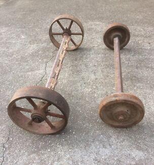 Antique Cast Iron Wheels on Axels