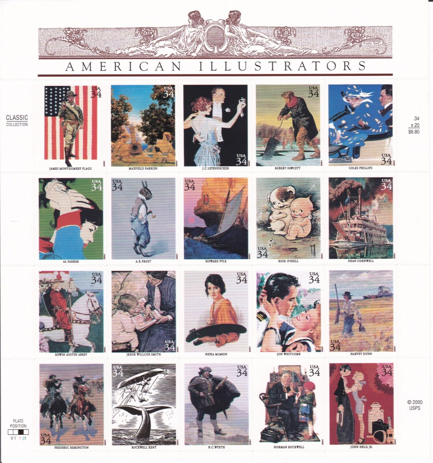 Scott 3502 - US Sheet Of 20 - AMERICAN ILLUSTRATORS - MNH - 2001 - $9.99