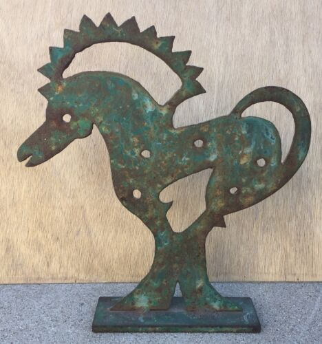 """ANTIQUE PAINTED SHEET- METAL CUT """"HORSE"""" WITH IRON STAND"""