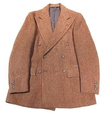 Vintage Polo Ralph Lauren Brown Tweed Double Breasted Suit Men's 38?