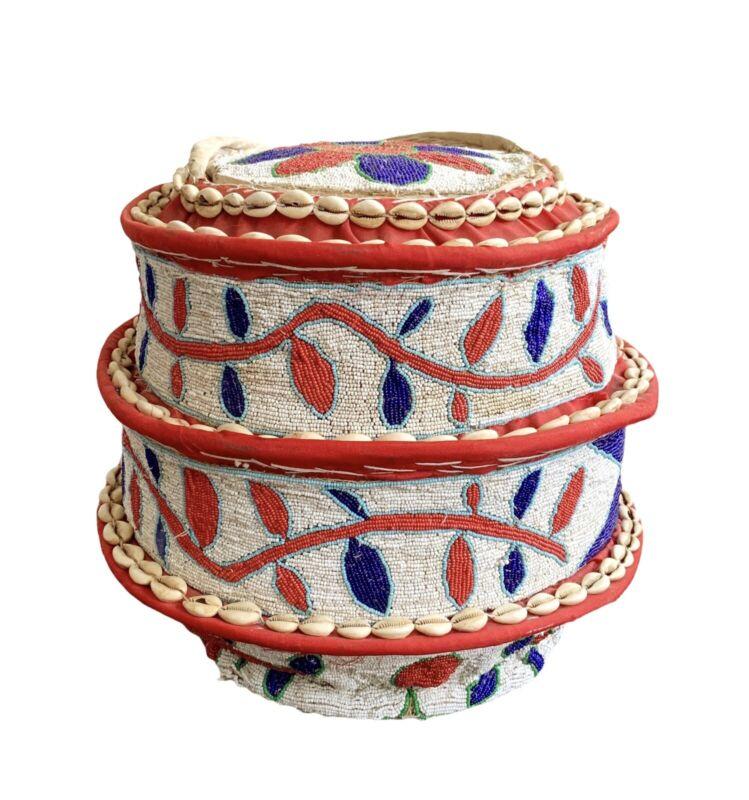 Yoruba Beaded Lidded Basket ~ Nigeria ~ 20th Century
