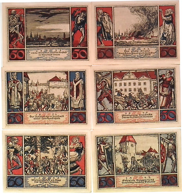1921 Germany URNSTADT 50 Phennig Banknote / Notgeld Set