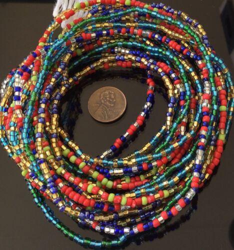 4 Strands Multi Colored Fine Waist Beads,African Trade Beads-Ghana
