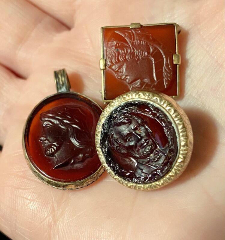 Antique Carnelian & Glass Warrior/President LOT