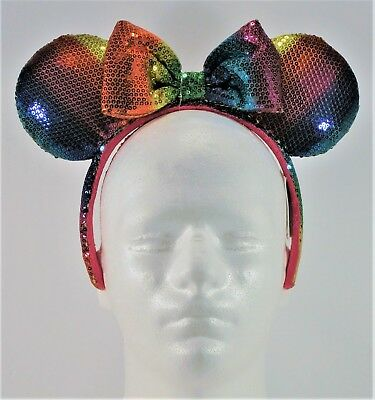 Disney Exclusive Minnie Ears Rainbow Gay Pride Sequin Headband BRAND NEW CUTE