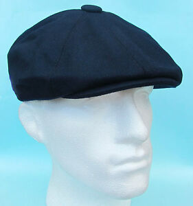 Flat-Cap-Navy-Blue-Wool-8-Panel-News-Boy-Baker-Boy-Gatsby