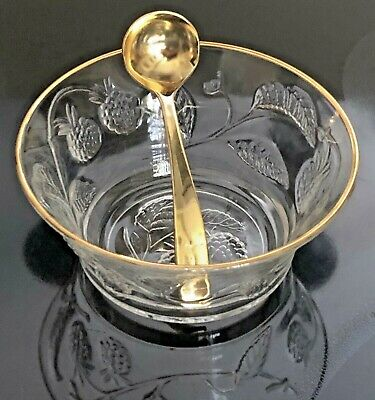 Glass Berry Fruit Bowl Gold Tone Trim with Gold Color Serving Spoon Ladle France Gold Berry Bowl
